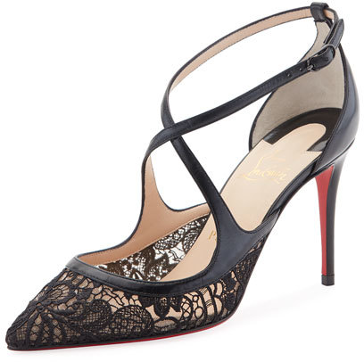 Christian Louboutin  Christian Louboutin Twsitissima Lace Red Sole Pump, Black