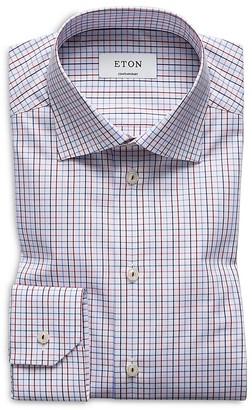 Eton of Sweden Graphic Check Regular Fit Dress Shirt $245 thestylecure.com