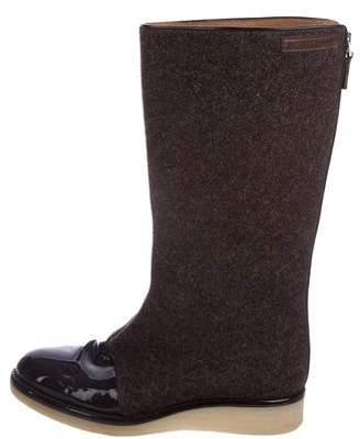 Emporio Armani Round-Toe Mid-Calf Boots