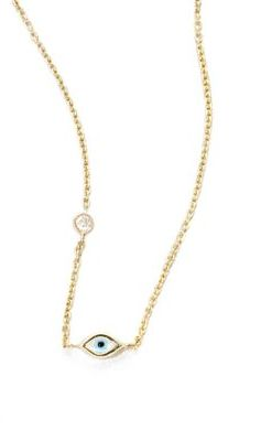 Sydney Evan Evil Eye Diamond & 14K Yellow Gold Pendant Necklace $430 thestylecure.com