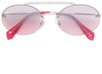 Miu Miu Runaway show Swarovski round sunglasses