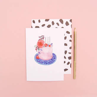 Blank Inside Birthday Cake On A Patterned Purple Plate Birthday Card