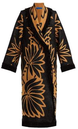 Märit Ilison - Palm Intarsia Tasselled Cotton Coat - Womens - Black Multi