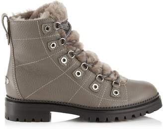 Jimmy Choo HILLARY FLAT Dark Grey Grainy Leather Ankle Booties with Shearling