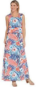 Denim & Co. Regular Floral Printed SleevelessKnit Maxi Dress