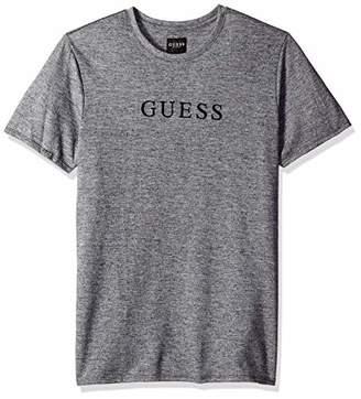 GUESS Men's Short Sleeve Cale Jersey Logo Crew Neck Shirt