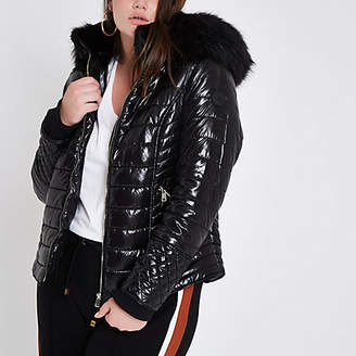 River Island Plus black faux fur high shine puffer jacket