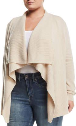 Neiman Marcus Cashmere Ribbed-Trim Drape-Front Cardigan, Beige, Plus Size