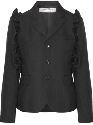 Comme des Garçons Comme des Garçons - Ruffle-trimmed Pinstriped Wool Blazer - Black $1,090 thestylecure.com