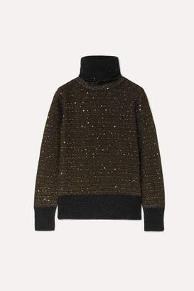 Akris Sequined Metallic Cashmere-blend Turtleneck Sweater - Black