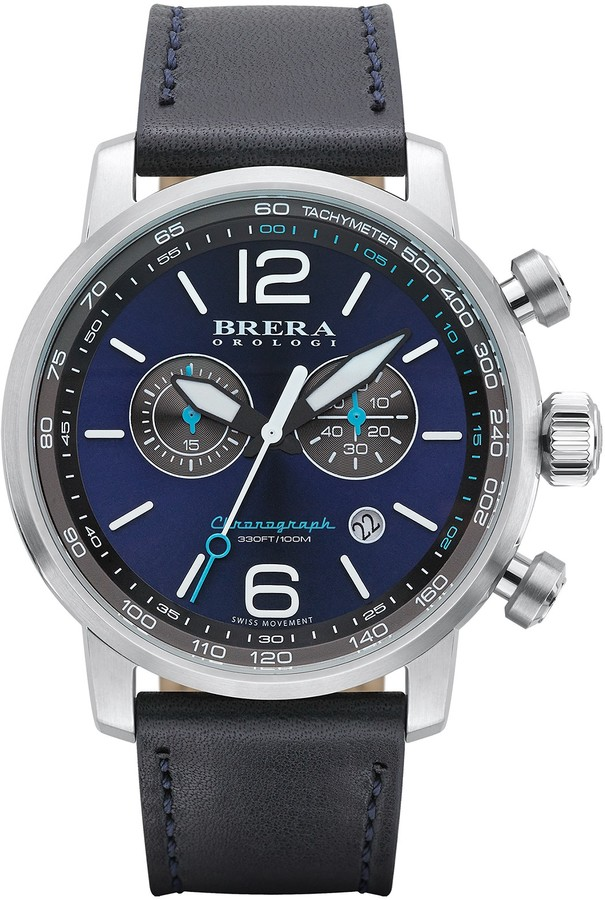 BreraBrera Men's Dinamico Chronograph Leather Strap Watch