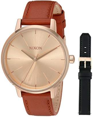 Nixon Women's 'Kensington Leather Pack' Quartz Stainless Steel Casual Watch