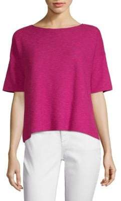 Eileen Fisher Boxy Linen Cotton Slub Knit Top