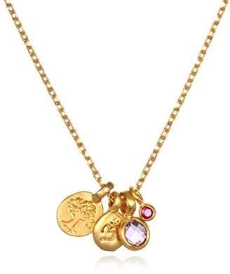Satya Jewelry Women's Amethyst Gold Tree & Om Charm Pendant Necklace 18-Inch