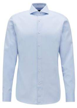 BOSS Hugo Tailored slim-fit shirt in crease-free dobby cotton 16 Light Blue