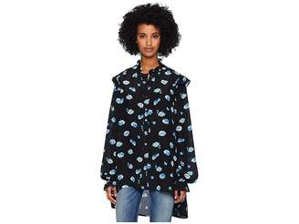 The Kooples Long Sleeve Button Up Shirt, Covered in Blue Daisy Print
