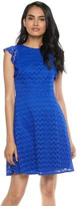 Petite Suite 7 Dot Lace Fit & Flare Dress
