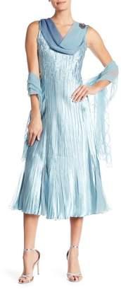 Komarov Sleeveless Cowl Neck Dress with Shawl