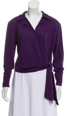 Versace Cropped Wrap Top Purple Cropped Wrap Top