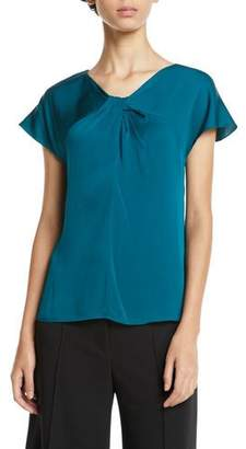 Milly Tatiana Twist-Neck Cap-Sleeve Stretch-Silk Top
