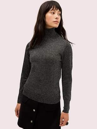 Kate Spade Metallic Ribbed Turtleneck, Black - Size L