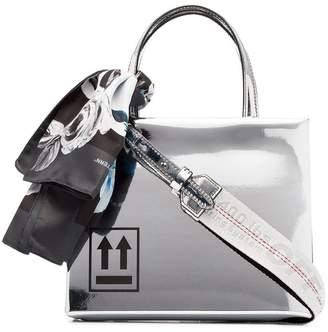 Off-White silver mirror box mini patent leather shoulder bag