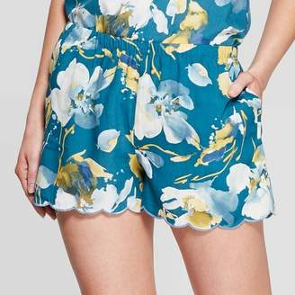 Stars Above Women's Floral Print Simply Cool Pajama Shorts - Stars AboveTM Teal