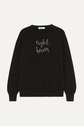 Lingua Franca - Night Fever Embellished Embroidered Cashmere Sweater - Black