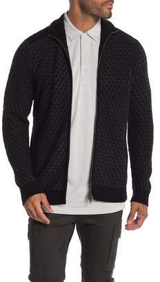Autumn Cashmere Faux Suede Shoulders Front Zip Sweater