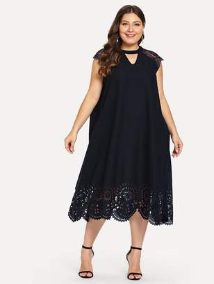 Shein Plus Lace Insert Laser Cut Hem Dress