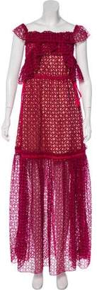 Self-Portrait Eyelet Lace Maxi Dress