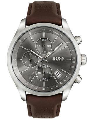 Black Grand Prix Grey Chronograph Dial Brown Leather Strap Mens Watch