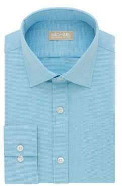 Michael Kors Regular Fit Silk Herringbone Dress Shirt