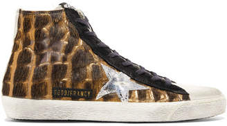 Golden Goose Francy Distressed Calf Hair And Suede High-top Sneakers - Leopard print