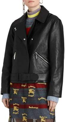 Burberry Burnham Tartan Lined Leather Biker Jacket