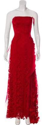 Oscar de la Renta Lace Embellished Gown Red Lace Embellished Gown