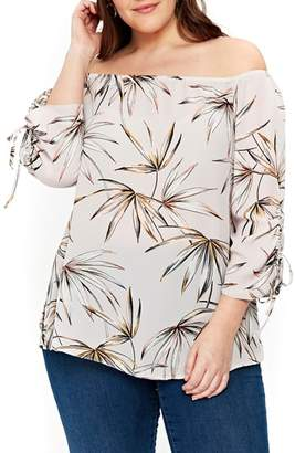 Evans Palm Print Off the Shoulder Top