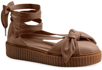 FENTY PUMA by Rihanna Leather Bow Creeper Sandals, Natural