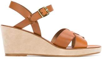 A.P.C. crossover strap wedge sandals