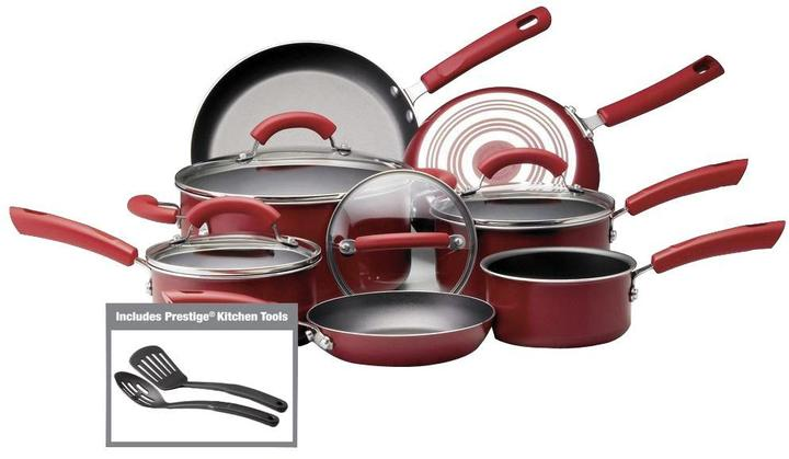 Farberware 13-Piece Cookware Set in Red