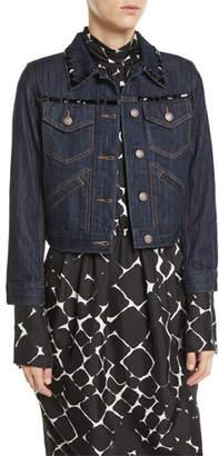 Marc Jacobs Beaded Button-Front Shrunken Denim Jacket w/ Contrast Topstitching