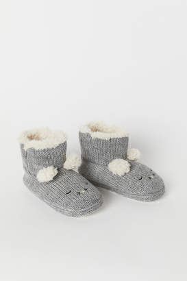 H&M Knitted slippers - Gray
