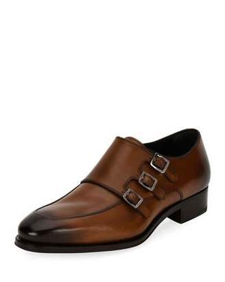 Salvatore Ferragamo Men's Triple-Monk Leather Shoe, Brown