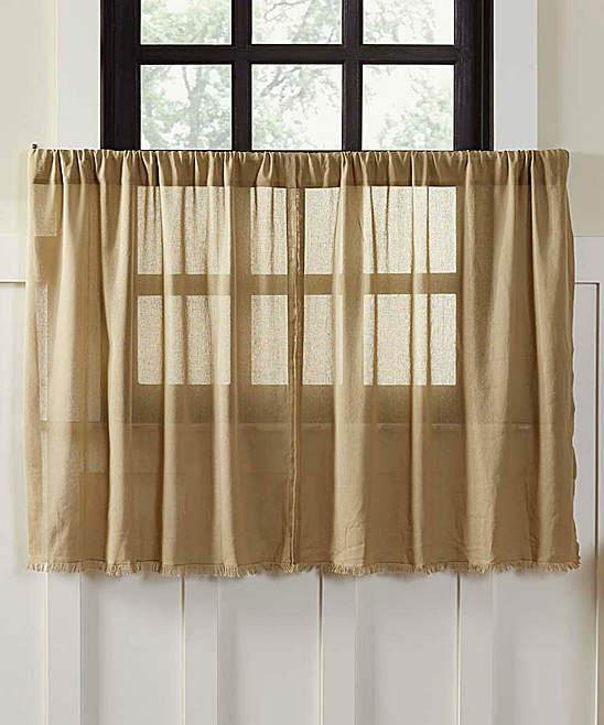 Khaki Tobacco Fringe Cotton Tier Curtain - Set of Two