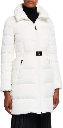 Moncler Accenteur Long Belted Puffer Coat
