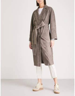 Brunello Cucinelli Double-breasted suede trench coat