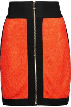 Balmain Lace And Jersey Mini Skirt