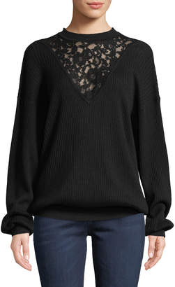See by Chloe Long-Sleeve Wool Pullover Sweater with Lace Inset
