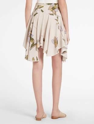 Halston Printed Flounce Skirt