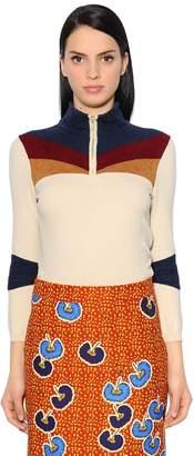 Stella Jean High Collar Knit & Chenille Sweater
